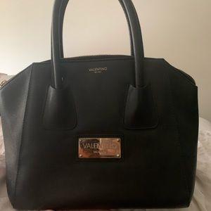 Valentino Authentic Black Leather Medium Satchel